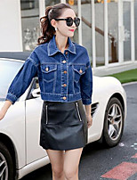 Women's Casual/Daily Simple Spring Denim Jacket,Solid Stand 3/4 Length Sleeve Short Others