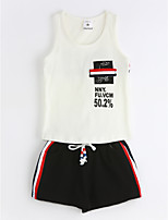 Boys' Casual/Daily Solid Geometric Sets,Cotton Summer Sleeveless Clothing Set