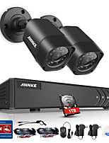 ANNKE® 4CH DVR 2Pcs 720P Camera Home Waterproof Surveillance Security System with IR Night Vision