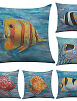 Set of 6 Tropical Fish Pattern Linen Pillowcase Sofa Home Decor Cushion Cover  Throw Pillow Case (18*18inch)