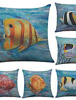6 штук Лён Наволочка Наволочки,геометрический Однотонный Текстура Пляжный стиль Традиционный/классический Поддерживать