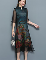 Women's Plus Size Casual/Daily Vintage Simple Loose Dress,Animal Print Stand Midi ¾ Sleeve Silk Summer Fall Mid Rise Inelastic Medium
