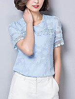Women's Going out Casual/Daily Simple Street chic Summer Fall Blouse,Solid Round Neck Short Sleeve Silk Opaque