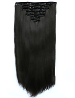 7pcs/Set 130g Mediumt Browm Straight 50cm Hair Extension Clip In Synthetic Hair Extensions