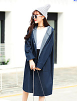 Women's Casual/Daily Vintage Spring Denim Jacket,Solid Square Neck Long Cotton Oversized