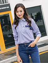 Women's Casual/Daily Simple Spring Shirt,Striped Shirt Collar Long Sleeve Cotton Thin
