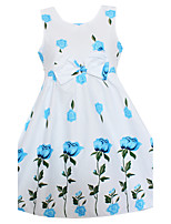 Girls Dress Blue Rose Flower Print Bow Belt Party Pageant Casual Children Clothes