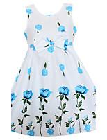 Девичий Платье На выход На каждый день Праздник Хлопок Цветочный принт Лето Весна Без рукавов