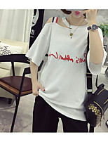 Women's Casual/Daily Street chic T-shirt,Letter Round Neck Short Sleeve Cotton