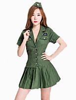 Cosplay Costumes Party Costume Masquerade Police Movie Cosplay Green Dress Hat Halloween Carnival Female Polyester