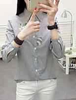 Women's Casual/Daily Simple Shirt,Striped Shirt Collar Long Sleeve Cotton Thin