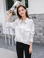 Women's Casual/Daily Work Holiday Vintage Simple Chinoiserie All Seasons Summer Shirt,Solid Shirt Collar Long Sleeve Rayon Thin