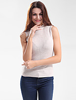 Women's Going out Casual/Daily Work Sexy Simple T-shirt,Solid Round Neck Sleeveless Cotton