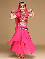 Belly Dance Outfits Kid's Performance Chiffon Spandex Coins Sequins 4 Pieces Short Sleeve Dance Costume Natural Top / Hip Scarf / Skirt / Veil