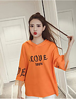 Women's Casual/Daily Hoodie Solid Round Neck Micro-elastic Cotton 3/4 Length Sleeve
