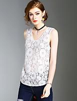 Uden ærmer V-hals Medium Damer Ensfarvet Sommer Sexet Simpel Gade Afslappet/Hverdag Strand I-byen-tøj T-shirt,Polyester