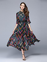 Women's Going out Casual/Daily Party Vintage Swing Dress Striped Round Neck Maxi Short Sleeve Summer