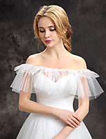 Women's Wrap Capelets Lace Tulle Wedding Party/Evening Draped Lace Pearls Tiered
