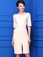 Для женщин На каждый день Простое Оболочка Платье Однотонный,Вырез лодочкой До колена Рукав ½ Полиэстер Лето Со стандартной талией