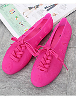 Women's Flats Summer Jelly Shoes PVC Casual Flat Heel Blushing Pink Blue Red Black