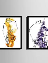 Abstrato Pessoas Quadros Emoldurados Conjunto Emoldurado Arte de Parede,PVC Material Preto Sem Cartolina de Passepartout com frame For