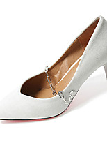 Women's Heels Comfort PU Summer Casual Walking Comfort Chain Stiletto Heel White Black Brown 2in-2 3/4in