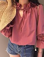 Для женщин На каждый день Рубашка Воротник-стойка,Простое Однотонный Длинный рукав,Хлопок Полиэстер