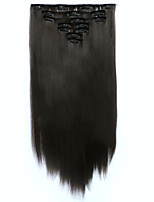 7pcs/Set 130g Chestnut Brown Straight 50cm Hair Extension Clip In Synthetic Hair Extensions
