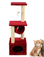 Cat Toy Interactive Luxury Climbing Rack Scratch Pad Durable Wood Plush Red