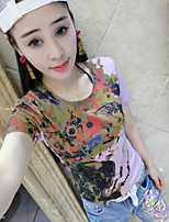 Women's Casual/Daily Simple Summer T-shirt,Rainbow Round Neck Short Sleeve Cotton Medium