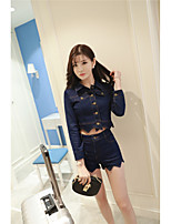 Women's Going out Casual/Daily Holiday Street chic Blazer Pant Suits,Solid Cowl
