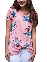 Women's Going out Club Holiday Vintage Street chic All Match Fashion Spring Summer T-shirtFloral Round Neck Short Sleeve Medium