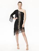 Shall We Latin Dance Dresses Women Performance Chinlon Sequined Sequins Tassel(s) 1 Piece 3/4 Length Sleeve High Dress