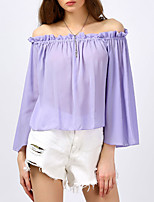 Women's Going out Beach Simple Sophisticated All Seasons Blouse,Solid Boat Neck Long Sleeve Rayon
