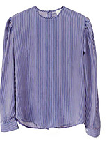 Women's Casual/Daily Simple Shirt,Striped Round Neck Long Sleeve Others