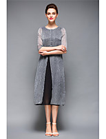 YANG X-M Women's Going out Casual/Daily Cute Loose DressSolid Round Neck Midi  Length Sleeve Polyester Spring Summer Mid Rise Inelastic Medium