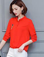 Langærmet Button down-krave Damer Ensfarvet Simpel Afslappet/Hverdag Polo,Polyester
