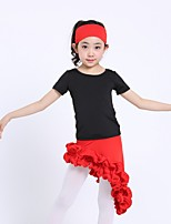 Latin Dance Outfits Kid's Performance Cotton Spandex 3 Pieces Short Sleeve Natural Top Skirt Headpieces