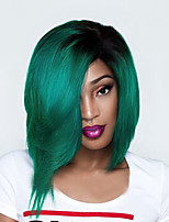 Top Quality Ombre Green Synthetic Wig Middle Length Straight Bobo Wig For Balck Women Wig.