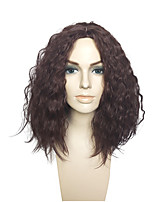 Dark Wine Color Synthetic Fiber Wig Kinky Curly  No Bangs Cosplay Costume Wig