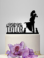 Personalized Acrylic Couple With Dogs Wedding Cake Topper