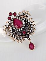 Dámské Brože Křišťál imitace drahokamu Jedinečný design Módní Barva ozdobného kamene Crown Shape Tmavomodrá Červená Zelená Šperky Pro