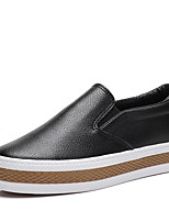 Women's Loafers & Slip-Ons Spring Moccasin Canvas Casual Creepers Black White