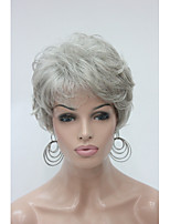 Fashion Curly Light Grey Short Synthetic Hair Full Women's  Wig For Everyday