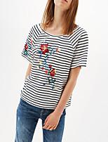 Damen Gestreift Stickerei Sexy Einfach Street Schick Ausgehen Lässig/Alltäglich T-shirt,Rundhalsausschnitt Sommer Kurzarm Seide Baumwolle