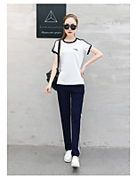 Women's Sports Simple T-shirt Pant Suits,Solid Round Neck Micro-elastic