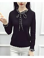 Damen Standard Pullover-Ausgehen Lässig/Alltäglich Solide Asymmetrisch Langarm Baumwolle Herbst Winter Mittel Unelastisch