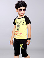 Boys' Going out Casual/Daily Sports Print Patchwork Sets,Cotton Summer Short Sleeve Clothing Set