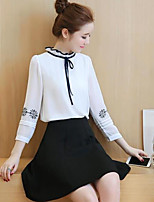 Women's Casual/Daily Street chic Spring Summer Blouse,Solid Stand Long Sleeve Cotton Thin