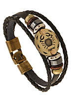 Women's Men's Leather Bracelet Friendship Vintage Leather Round Jewelry For Anniversary Gift Valentine 1pc